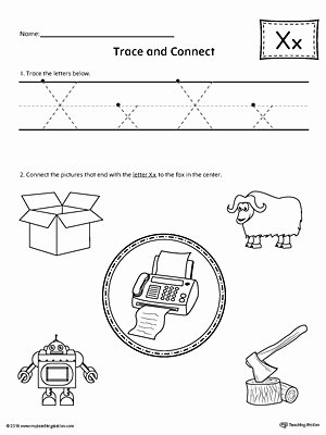 X Worksheets for Preschoolers Kids Trace Letter X and Connect Worksheet