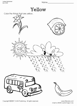 Yellow Worksheets for Preschoolers Free Color Things that are Yellow