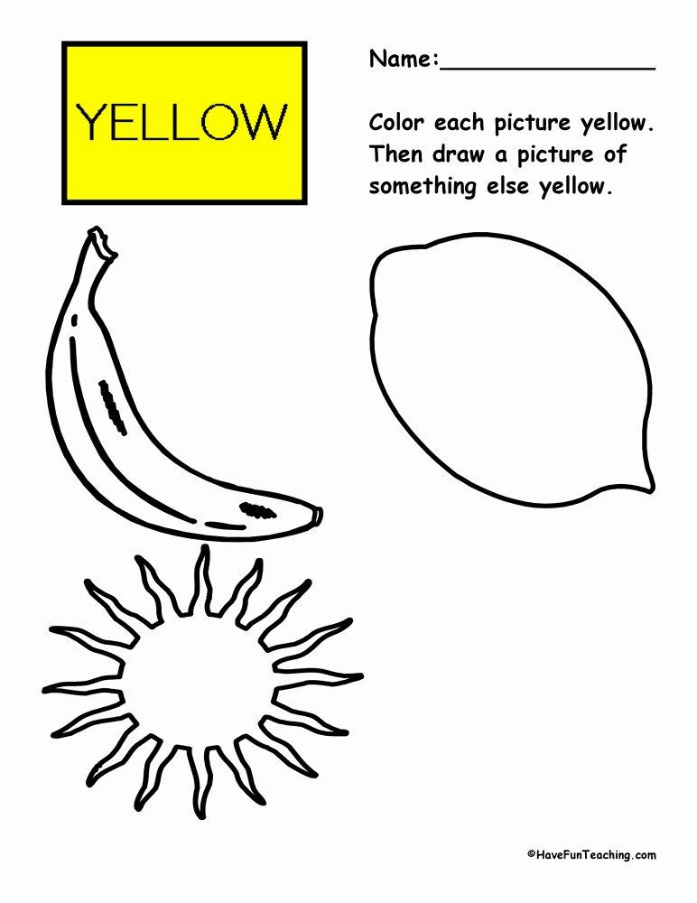 Yellow Worksheets for Preschoolers Inspirational Coloring Yellow Worksheet