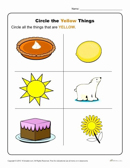 Yellow Worksheets for Preschoolers Kids Circle the Yellow Things