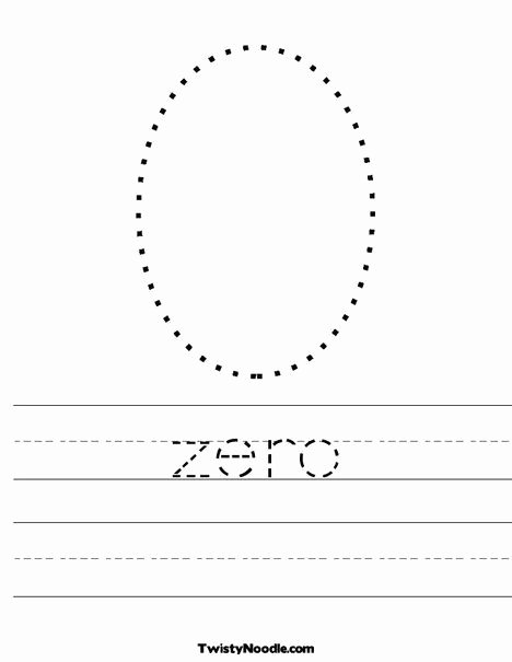 Zero Worksheets for Preschoolers Printable Zero Worksheet Twisty Noodle