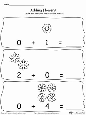 Zero Worksheets for Preschoolers top Adding Numbers with Flowers Using Zeros