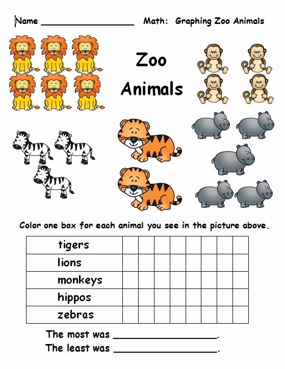 Zoo Animal Math Worksheets for Preschoolers Printable Free Math Graphing From Creativeclassroomconnections
