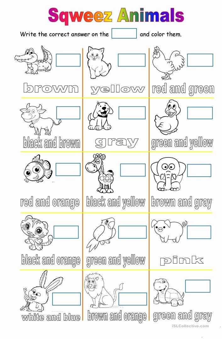 Zoo Animal Worksheets for Preschoolers Free Farm Pet and Zoo Animals English Esl Worksheets for