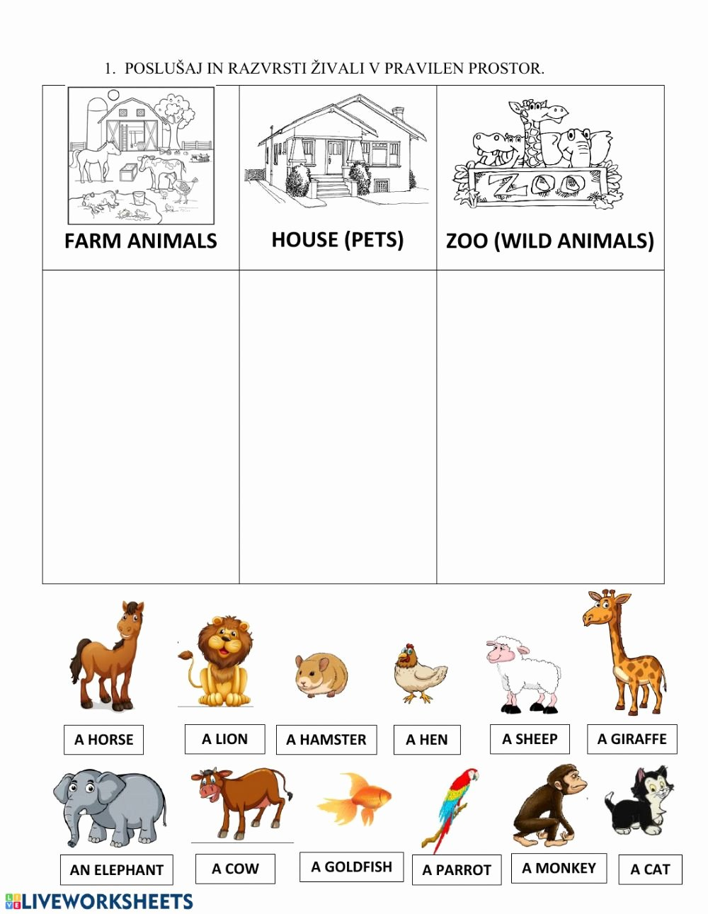 Zoo Animal Worksheets for Preschoolers Inspirational Animals Pet Farm Zoo Interactive Worksheet