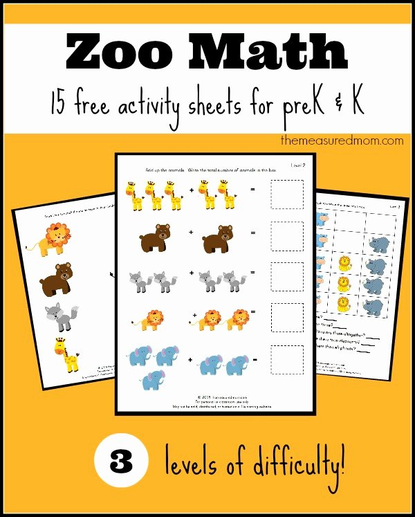 Zoo Math Worksheets for Preschoolers Free Free Zoo Worksheets for Preschool and Kindergarten the