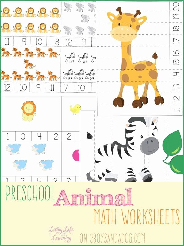 Zoo Math Worksheets for Preschoolers Kids Animal Preschool Math Worksheets