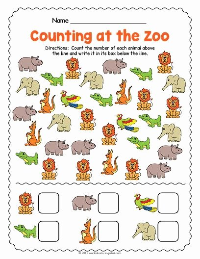 Zoo themed Worksheets for Preschoolers Inspirational Free Printable at the Zoo Counting Worksheet