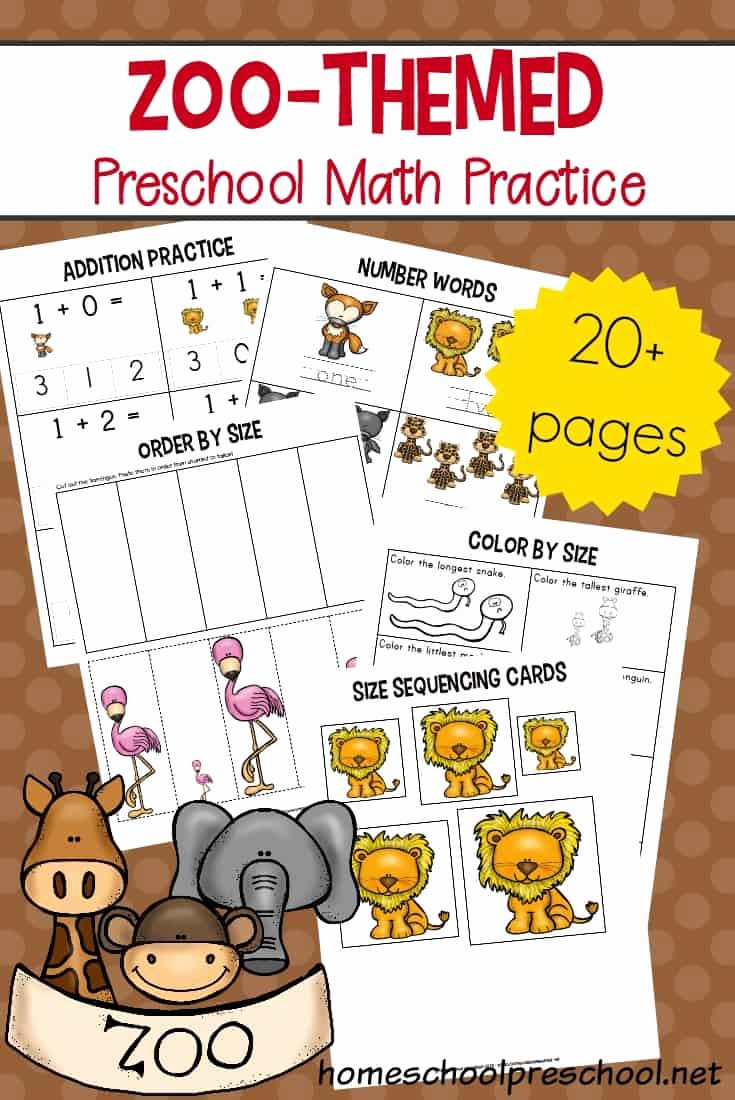 Zoo themed Worksheets for Preschoolers Inspirational Free Printable Zoo Math Worksheets for Preschoolers themed