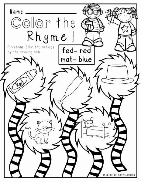 Cat In the Hat Worksheets for Preschoolers Inspirational Cat Hat Mat No Prep Rhyming Worksheets Free