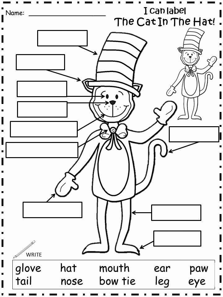 Cat In the Hat Worksheets for Preschoolers Kids Fairy Tales and Fiction by 2
