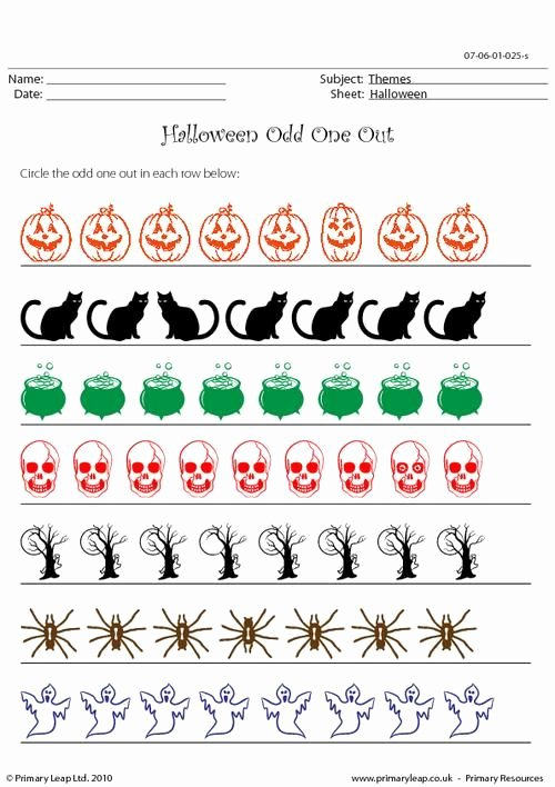 Circle the Odd One Out Worksheets for Preschoolers Lovely Primaryleap Halloween Odd One Out Worksheet