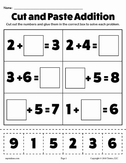 Cut and Paste Math Worksheets for Preschoolers New Free Printable Cut and Paste Math Worksheets for