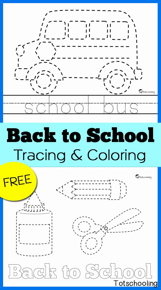 Free Printable Back to School Worksheets for Preschoolers Ideas Back to School Tracing & Coloring Pages
