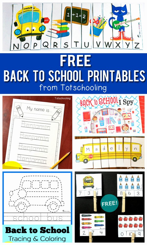 Free Printable Back to School Worksheets for Preschoolers Printable Free Back to School Printables for Kids