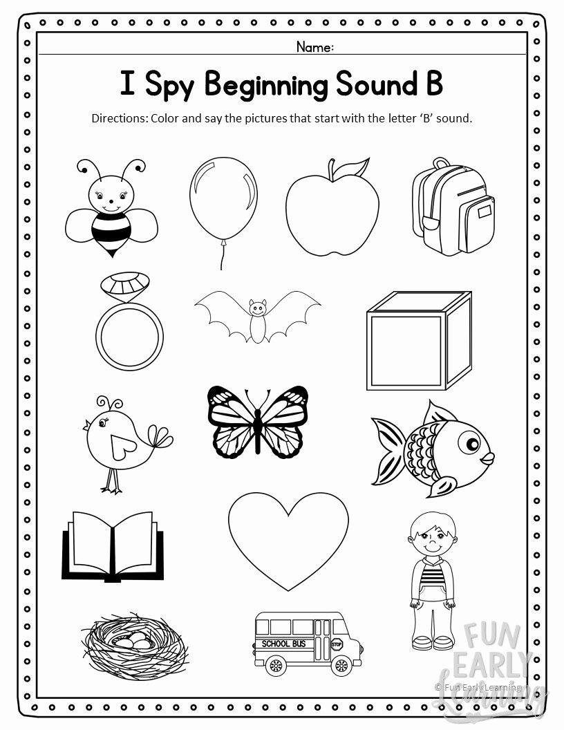 Free Printable Beginning sounds Worksheets for Preschoolers New I Spy Beginning sounds Activity Free Printable for Speech