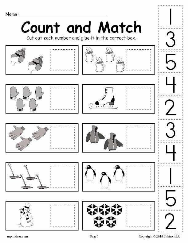 Free Printable Cut and Paste Worksheets for Preschoolers Best Of Printable Winter Counting and Matching Cut Paste Worksheet