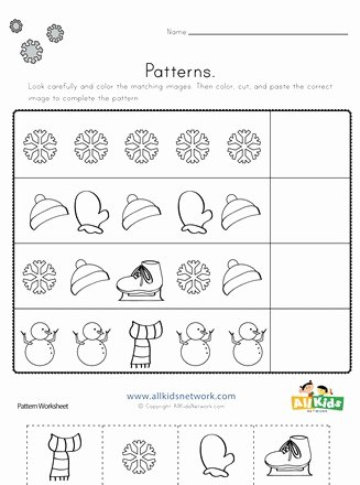 Free Printable Cut and Paste Worksheets for Preschoolers Kids Winter Cut and Paste Patterns Worksheet