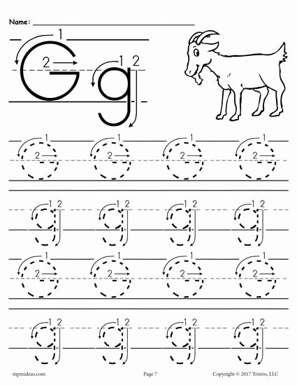 Free Printable Letter G Worksheets for Preschoolers Kids Printable Letter G Tracing Worksheet with Number and Arrow