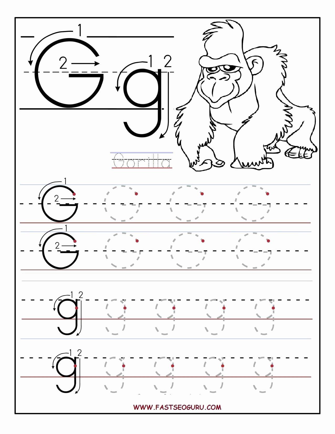 Free Printable Letter G Worksheets for Preschoolers top Printable Letter G Tracing Worksheets for Preschool