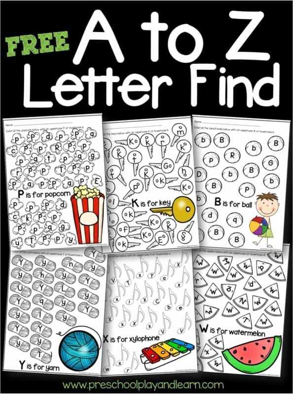 Free Printable Letter Recognition Worksheets for Preschoolers Printable Free A to Z Letter Find Worksheets