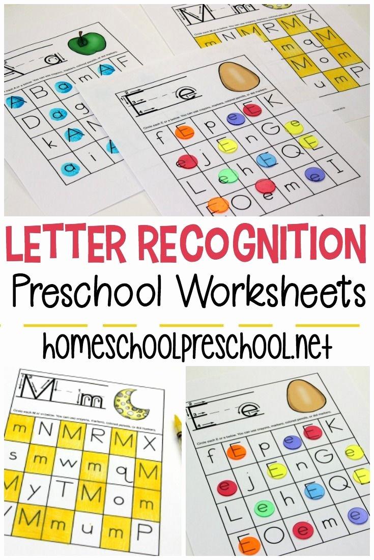 Free Printable Letter Recognition Worksheets for Preschoolers Printable Free Printable Letter Recognition Worksheets for