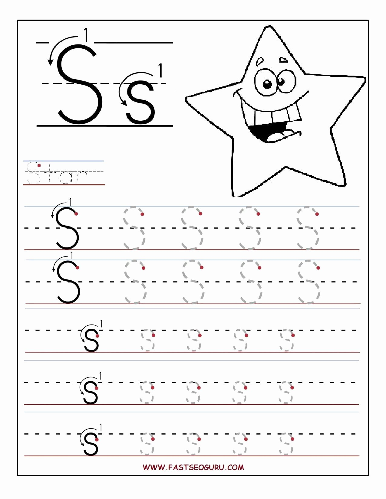 Free Printable Letter S Worksheets for Preschoolers Kids Printable Letter S Tracing Worksheets for Preschool