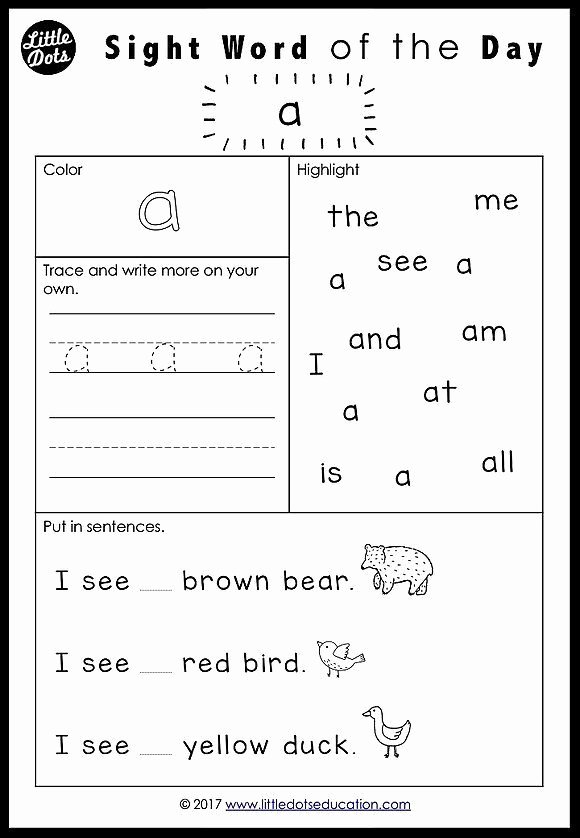 Free Printable Sight Words Worksheets for Preschoolers Inspirational Free Pre K Dolch Sight Words Worksheets Set 1