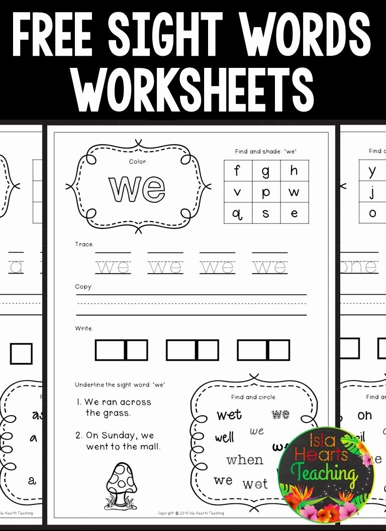Free Printable Sight Words Worksheets for Preschoolers Lovely Free Sight Words Worksheets Kindergarten Word Junior Games