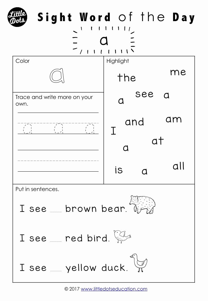 Free Printable Sight Words Worksheets for Preschoolers top Free Pre Dolch Sight Words Worksheets Set Word Kindergarten