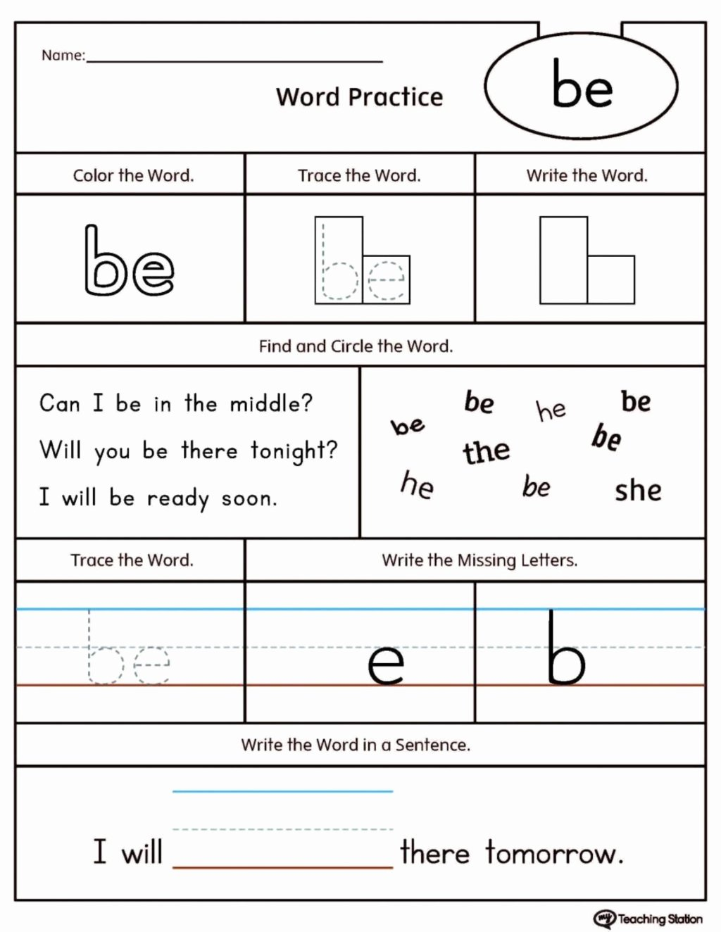 Free Printable Sight Words Worksheets for Preschoolers top Worksheet Preschool Worksheet Sight Words to Printable