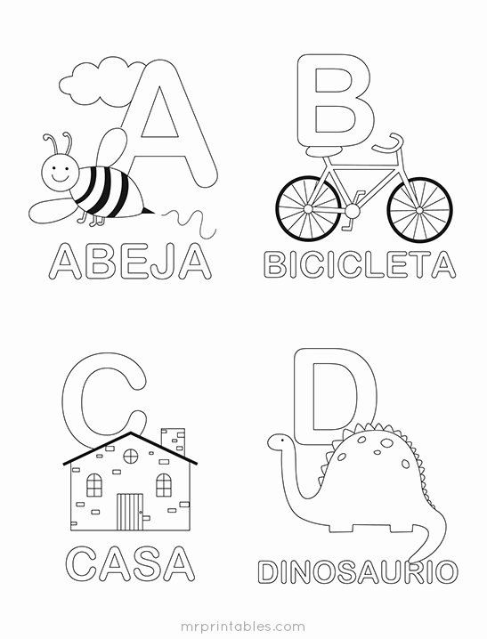 Free Printable Worksheets for Preschoolers In Spanish Kids Spanish Alphabet Coloring Mr Printables Worksheets