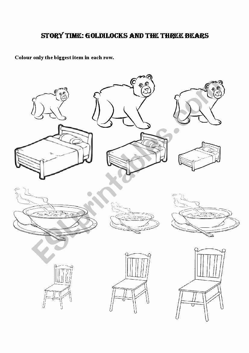 Goldilocks and the Three Bears Worksheets for Preschoolers Inspirational Goldilocks and the Three Bears Kindergarten Preschool
