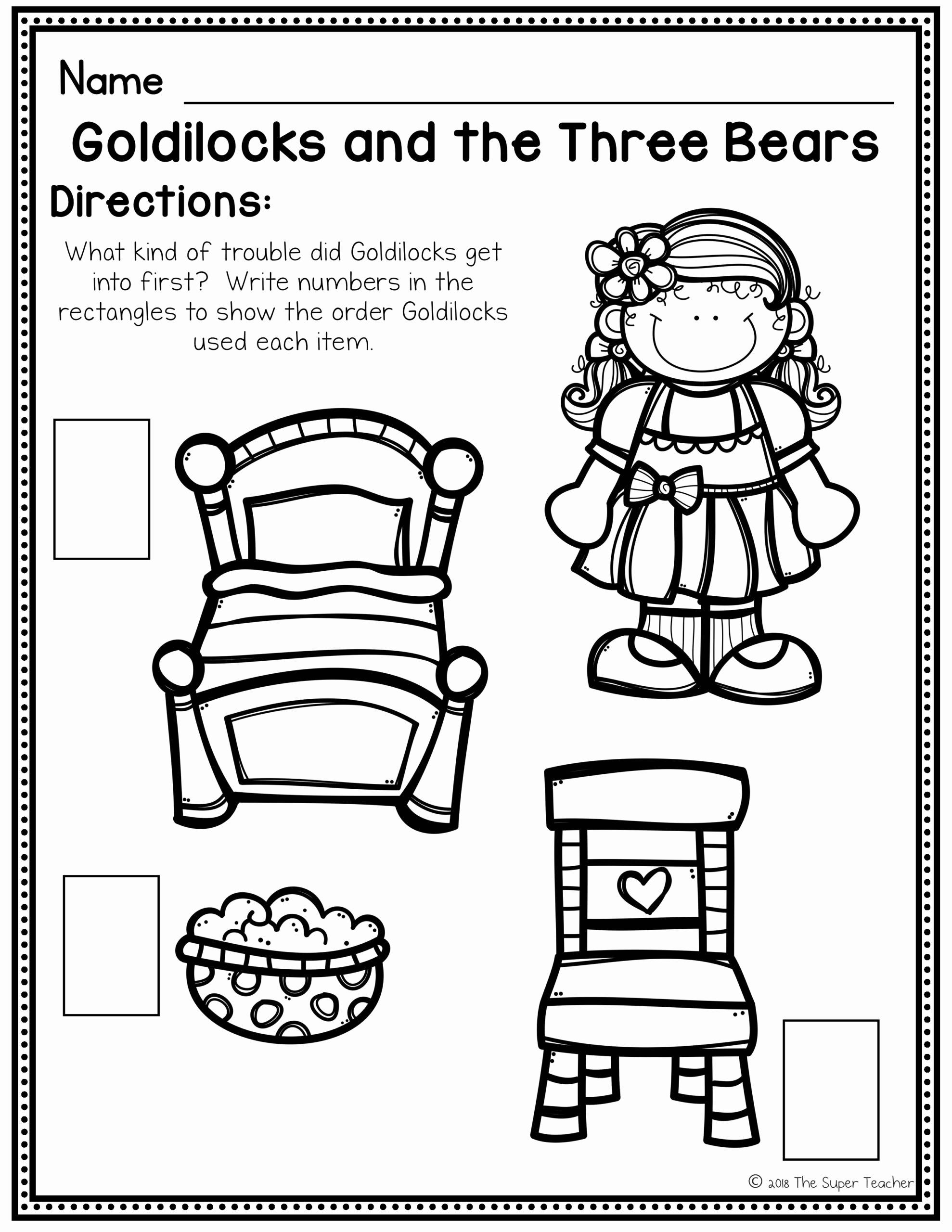 Goldilocks and the Three Bears Worksheets for Preschoolers New Worksheets Goldilocks and the Three Bears Elements
