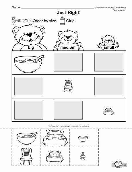 Goldilocks and the Three Bears Worksheets for Preschoolers top the Mailbox