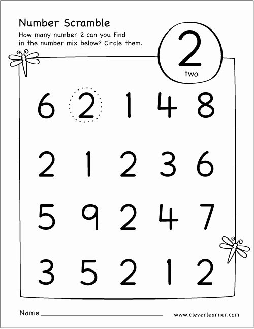 Number 1 and 2 Worksheets for Preschoolers Best Of Free Printable Scramble Number Two Activity
