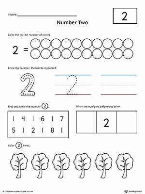Number 1 and 2 Worksheets for Preschoolers Best Of Number 2 Practice Worksheet