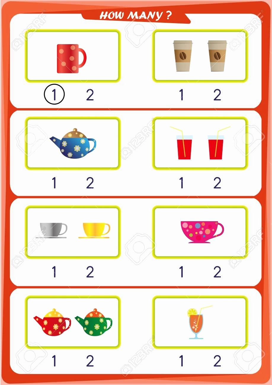 Number 1 and 2 Worksheets for Preschoolers Best Of Worksheet for Kindergarten Kids Count the Number Of Objects