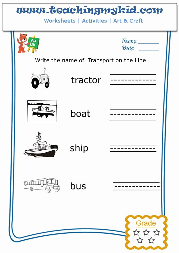 Printable Worksheets for Preschoolers to Write their Name Inspirational Write the Name Each Transport Archives Teaching My Kid