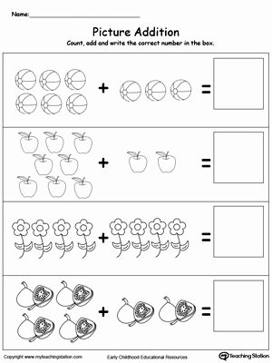Simple Addition and Subtraction Worksheets for Preschoolers top Addition with Objects