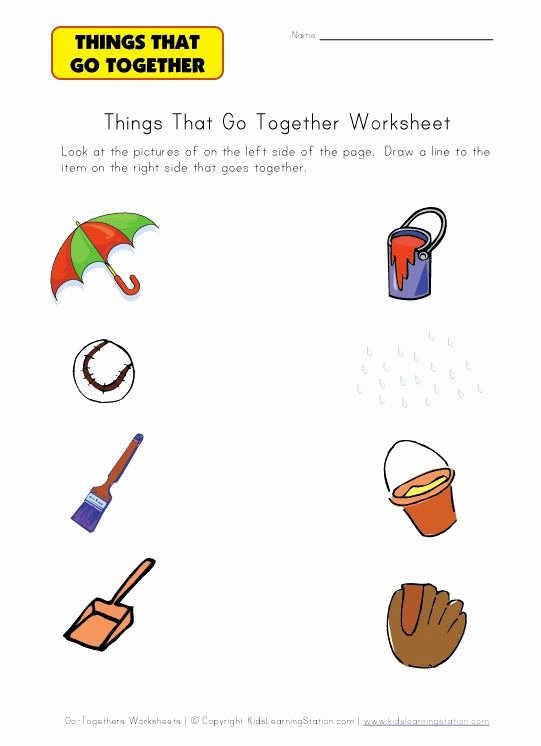 Things that Go together Worksheets for Preschoolers Free Kindergarten Worksheet