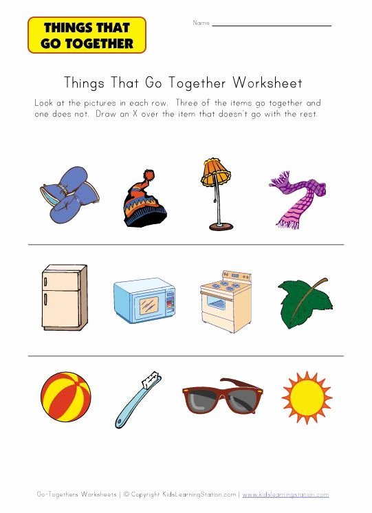 Things that Go together Worksheets for Preschoolers Ideas Go to Hers Worksheet for Kids