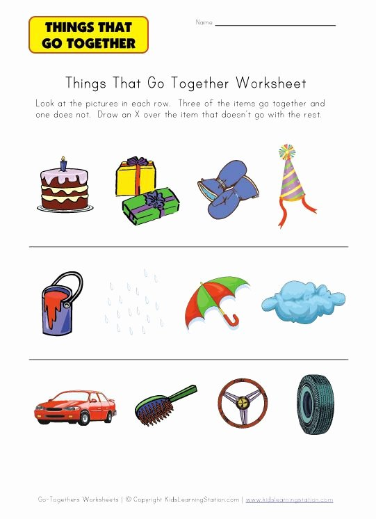 Things that Go together Worksheets for Preschoolers Inspirational Kindergarten Go to Hers Worksheet
