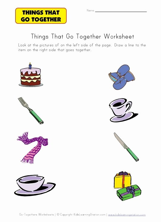 Things that Go together Worksheets for Preschoolers Lovely Go to Hers Worksheet