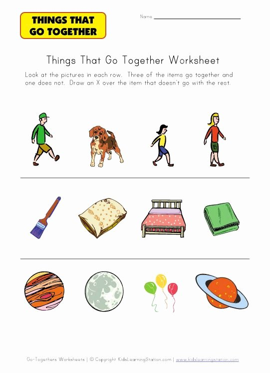 Things that Go together Worksheets for Preschoolers Printable Things that Go to Her Identification