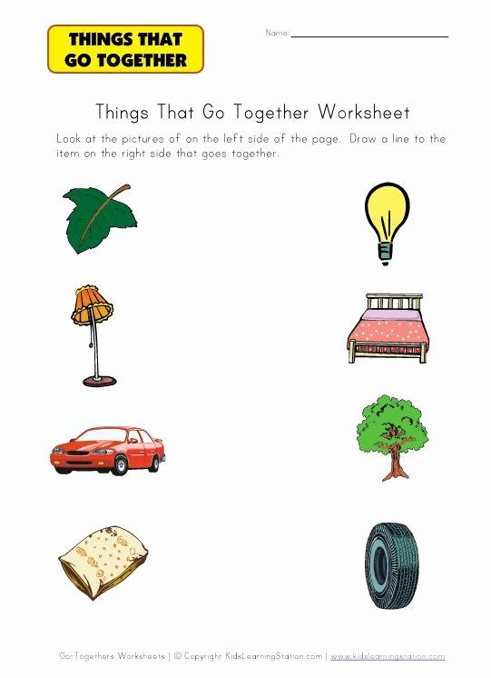 Things that Go together Worksheets for Preschoolers top Matching Go to Hers