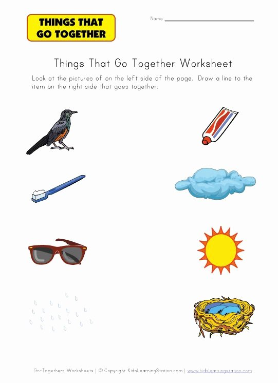 Things that Go together Worksheets for Preschoolers top Matching Things that Go to Her Worksheets
