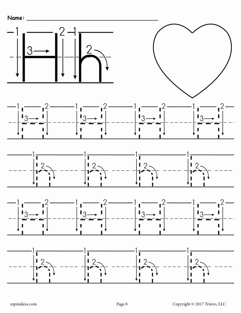 Tracing the Letter H Worksheets for Preschoolers Ideas Printable Letter H Tracing Worksheet with Number and Arrow Guides