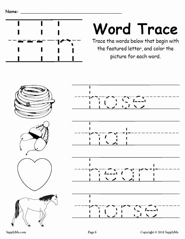 Tracing the Letter H Worksheets for Preschoolers Inspirational Coloring Pages Letter H Words Alphabet Tracingsheet