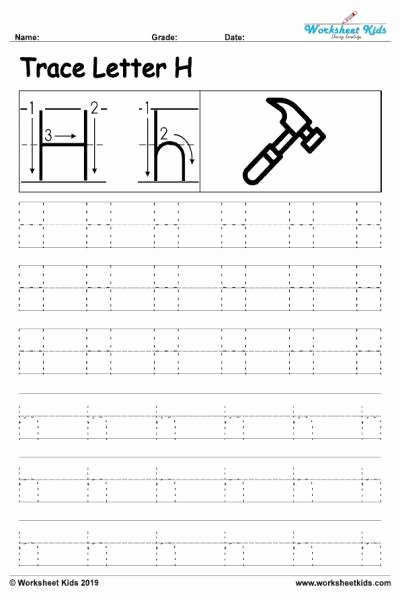 Tracing the Letter H Worksheets for Preschoolers Kids Letter H Alphabet Tracing Worksheets Free Printable Pdf
